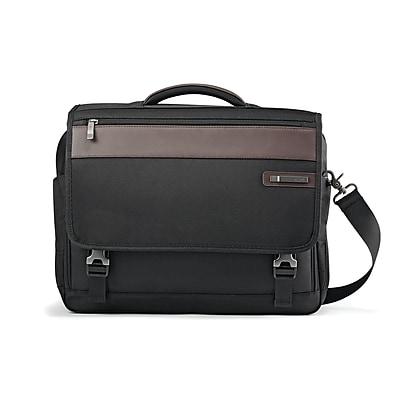 Samsonite Kombi Flapover Laptop Bag Black and Brown Ballistic Nylon (92314-1051)