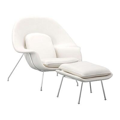 Zuo Nursery Polyblend Occasional Chair & Ottoman White 501154