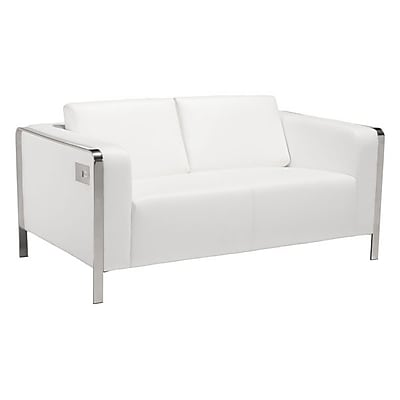 Zuo Thor 56'' Leatherette Loveseat White 100677