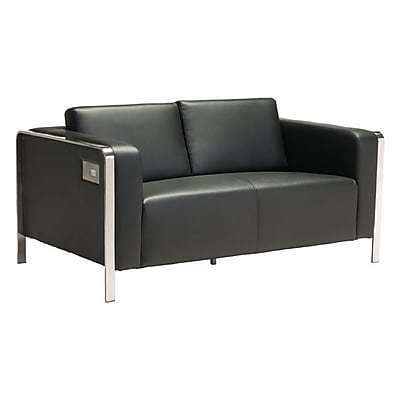 Zuo Thor 56'' Leatherette Loveseat Black 100678