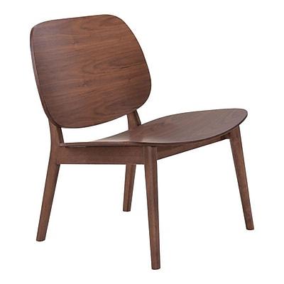 Zuo Priest Walnut Veneer Lounge Chair Walnut Pack of 2 100152