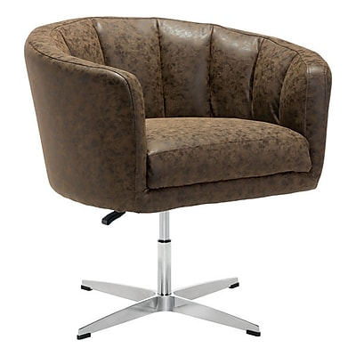 Zuo Wilshire Leatherette Occasional Chair Vintage Coffee 100767