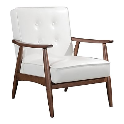 Zuo Rocky Leatherette Arm Chair White 100529