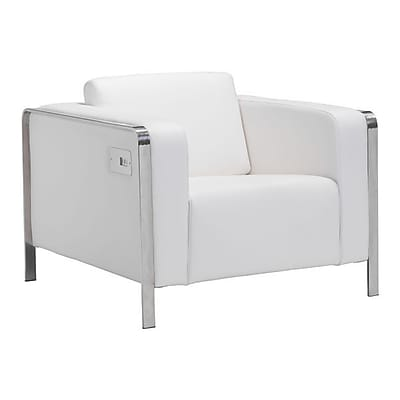 Zuo Thor Leatherette Arm Chair White 100384