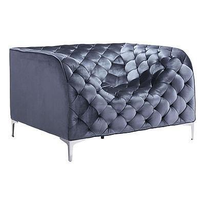 Zuo Providence Velvet Arm Chair Gray Velvet 900281