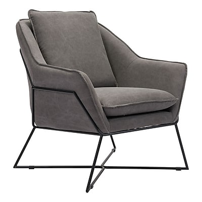 Zuo Lincoln Canvas Lounge Chair Gray 100727