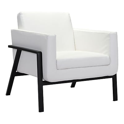 Zuo Homestead Leatherette Lounge Chair White 100766