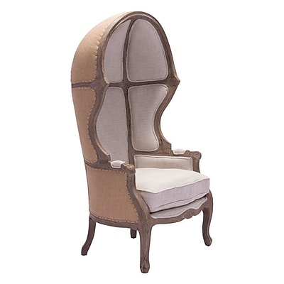 Zuo Ellis Polyester Linen Occasional Chair Beige 98384