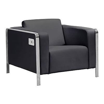 Zuo Thor Leatherette Arm Chair Black 100385
