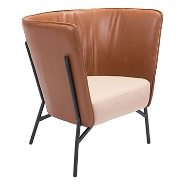 Zuo Assange Leatherette, Polyblend Occasional Chair Coffee & Beige 98087