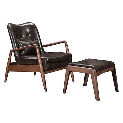 Zuo Bully Leatherette Lounge Chair & Ottoman Brown 100535