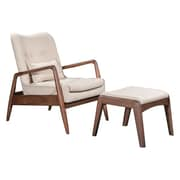 Zuo Bully Polyester Lounge Chair & Ottoman Beige 100536