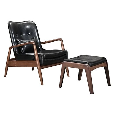 Zuo Bully Leatherette Lounge Chair & Ottoman Black 100534