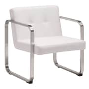 Zuo Varietal Leatherette Arm Chair White 900642
