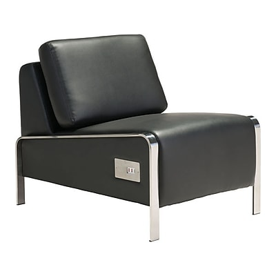 Zuo Thor Leatherette Armless Chair Black 100680