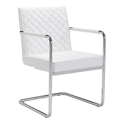 Zuo Quilt Leatherette Dining Chair White Pack of 2 100190