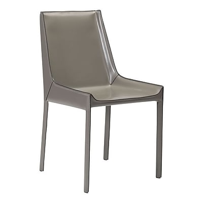 Zuo Fashion Recycled Leather Dining Chair Stone Gray Pack of 2 100648