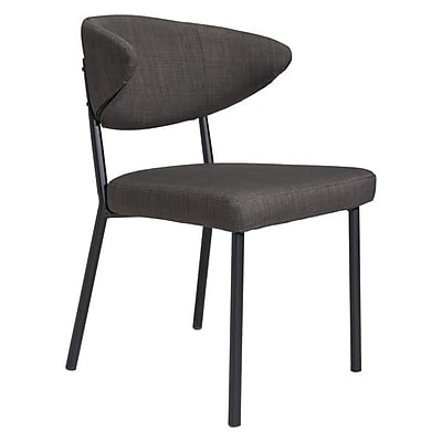 Zuo Pontus Poly Linen Dining Chair Charcoal Gray Pack of 2 100764