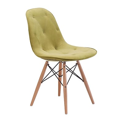 Zuo Probability Velour Polyblend Dining Chair Green 104156