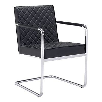 Zuo Quilt Leatherette Dining Chair Black Pack of 2 100189