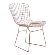 Zuo Wire Chromed Steel Dining Chair Rose Gold Pack of 2 100361