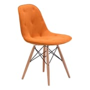 Zuo Probability Velour Polyblend Dining Chair Orange 104158