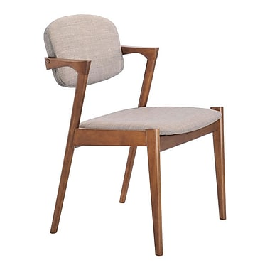 Zuo Brickell Linen Polyblend Dining Chair Dove Gray Pack of 2 100113