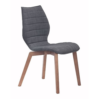 Zuo Aalborg Polyblend Dining Chair Graphite Pack of 2 100057