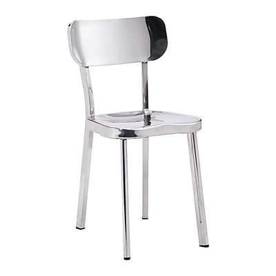 Zuo Winter Polished Stainless Steel Dining Chair Polished Stainless Steel Pack of 2 100301