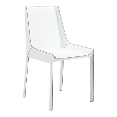 Zuo Fashion Recycled Leather Dining Chair White Pack of 2 100649