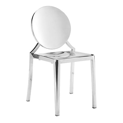 Zuo Eclipse Polished Stainless Steel Dining Chair Stainless Steel Pack of 2 100550