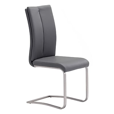 Zuo Rosemont Leatherette Dining Chair Gray Pack of 2 100138