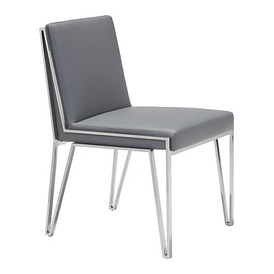 Zuo Kylo Leatherette Dining Chair Gray Pack of 2 100335