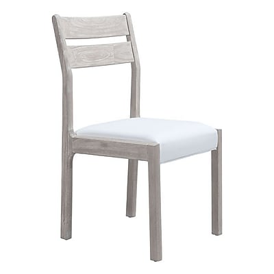 Zuo Beaumont Bi-Cast Leather Dining Chair Sun Drenched Acacia & White Pack of 2 100745
