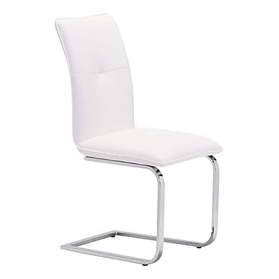 Zuo Anjou Leatherette Dining Chair White Pack of 2 100121