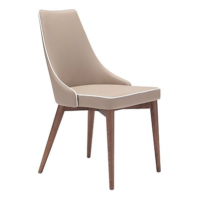 Zuo Moor Leatherette Dining Chair Beige Pack of 2 (100277)