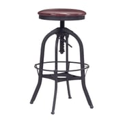 "Zuo Crete 35"" Barstool Burgundy & Antique Black (100441)"
