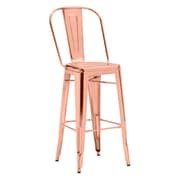 "Zuo Elio 46"" Bar Chair Rose Gold Pack of 2 (108063)"