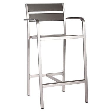 Zuo Megapolis Bar Arm Chair Brushed Aluminum Pack of 2 (703185)