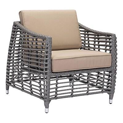 Zuo Trek Beach Arm Chair Gray & Beige (703826)