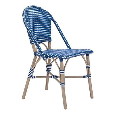 Zuo Paris Dining Chair Navy Blue & White Pack of 2 (703804)
