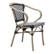 Zuo Paris Dining Arm Chair Black & White Pack of 2 (703802)