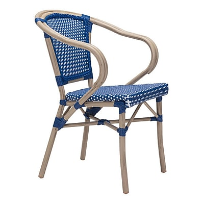Zuo Paris Dining Arm Chair Navy Blue & White Pack of 2 (703801)
