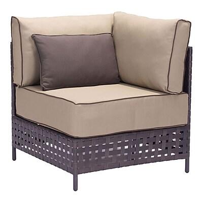 Zuo Pinery Corner Chair Brown & Beige (703797)
