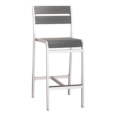 Zuo Megapolis Bar Armless Chair Brushed Aluminum Pack of 2 (703186)