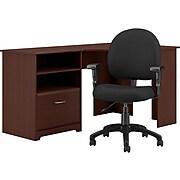 "Bush Furniture Cabot 60"" Corner Desk with Chair, Harvest Cherry (CAB040HVC)"