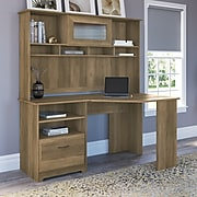"""Bush Furniture Cabot 60"""" Corner Desk with Hutch, Reclaimed Pine (CAB008RCP)"""