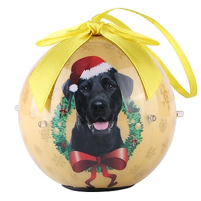 Gold Twinkling Lights Christmas Tree Ball Ornament home decor Dog Puppy, Black Labrator (ONRDOG414)