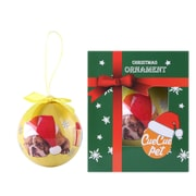 Golden Christmas Tree Ball Ornament home decor,  Bull dog and Christmas Hat (ORNDOG104)