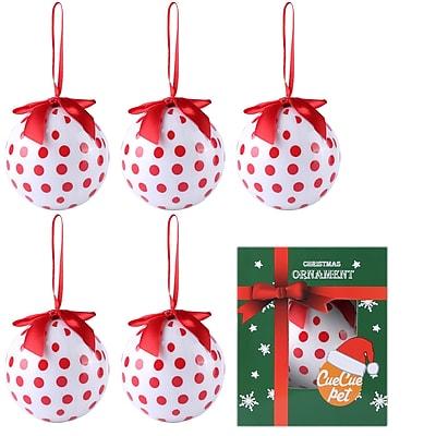 6 x White Christmas Tree Ornaments Ball Set Polka Dot Home Decor (808)